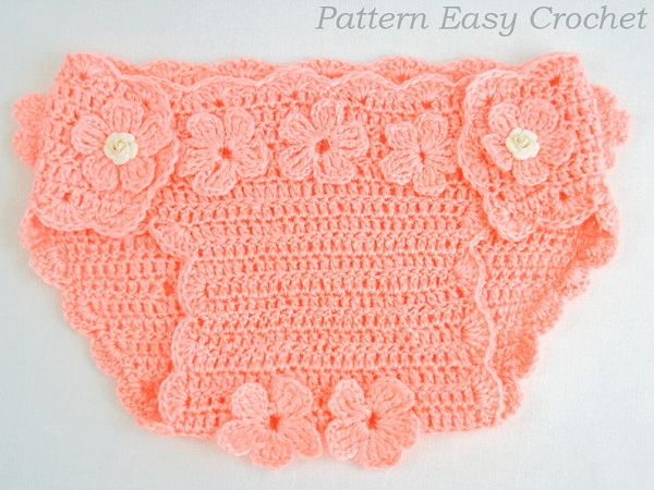 Crochet Baby Diaper Cover Floral Pattern  by Easy Crochet