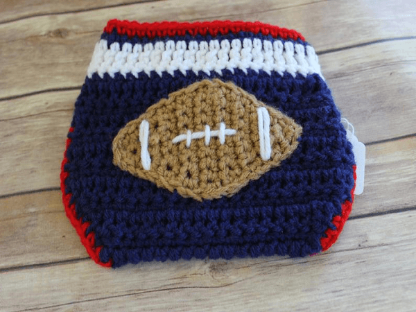 Football Diaper Cover Crochet Pattern by Jonna Martinez Crochet