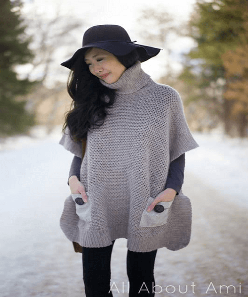 Granite Poncho Crochet Pattern by All About Ami