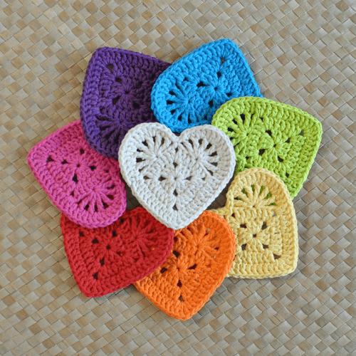 Granny Heart Coaster Crochet Pattern by Island Style Crochet