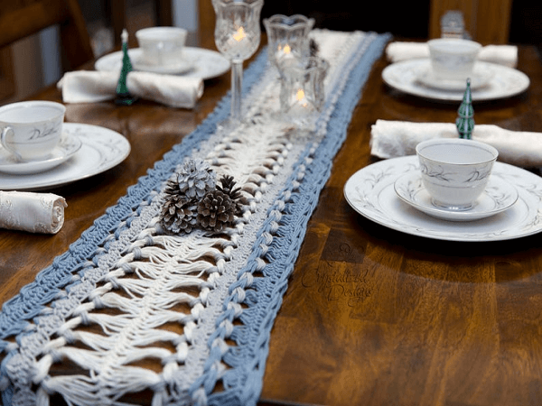 Hairpin Lace Table Runner Crochet Pattern by Crystalized Design