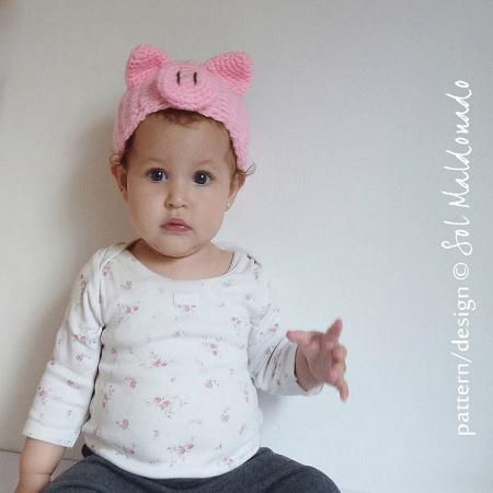 Head Wrap Pig Ears Crochet Pattern by By Sol