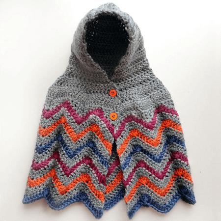 Hooded Chevron Poncho Crochet Pattern by Crochet Spot Patterns