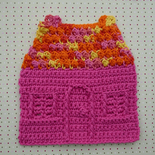 House Dishcloth Crochet Pattern by Whiskers And Wool