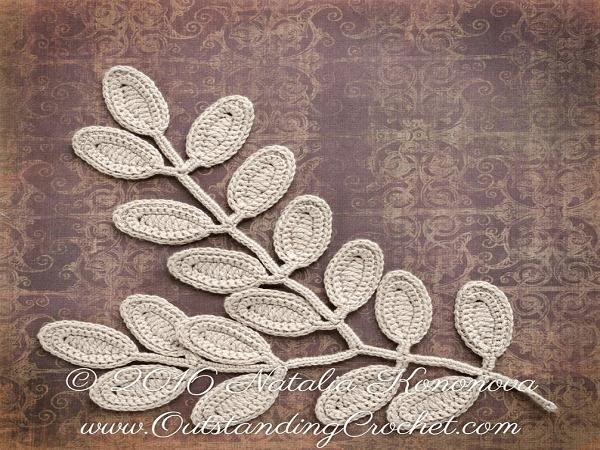 Irish Crochet Leaf Pattern by Outstanding Crochet