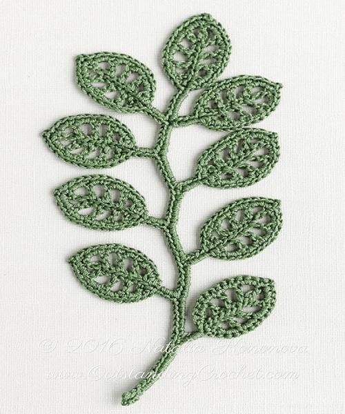 Irish Crochet Leaf Applique Pattern by Outstanding Crochet