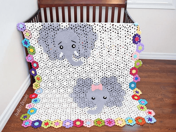 Josefina And Jeffery Elephant Blanket Crochet Pattern by Irarott Patterns