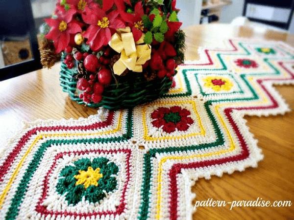 Joyful Flowers Table Runner Pattern by The Pattern Paradise