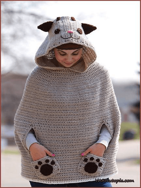 Kitty Cat Poncho Crochet Pattern by Yarnutopia