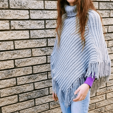 Knit Look Crochet Poncho Pattern by Yarn Hook Needles