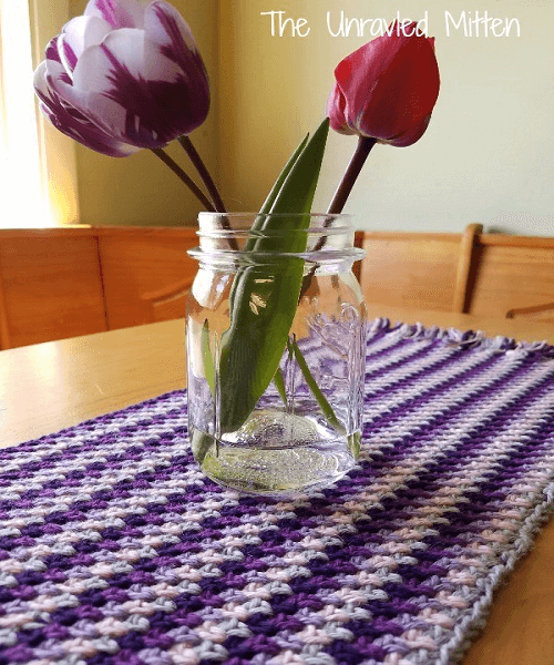 Linen Stitch Table Runner Crochet Pattern by The Unraveled Mitten