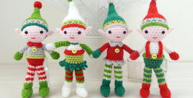 Christmas Elf Quartet Crochet Pattern by Moji Moji Design