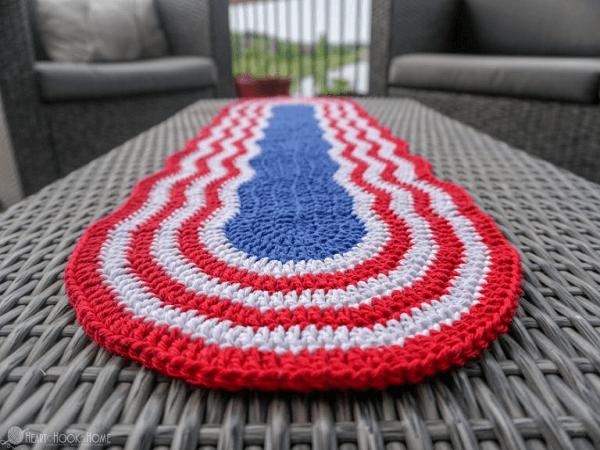 Patriotic Table Runner Crochet Pattern by Heart Hook Home