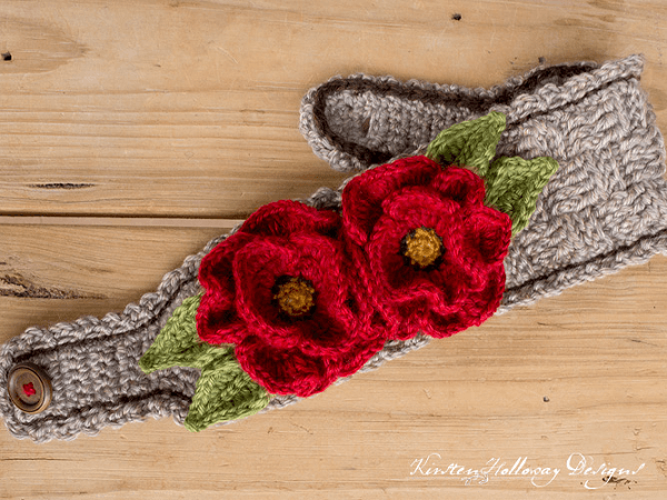 Poppy Flower Crochet Headband Pattern by Kirsten Holloway Designs