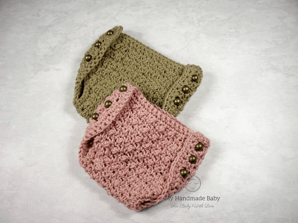 Side Button Diaper Cover Crochet Pattern by Barbs Daughter Designs
