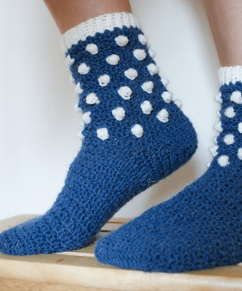 Snowfall Crochet Sock Pattern by Dora Does