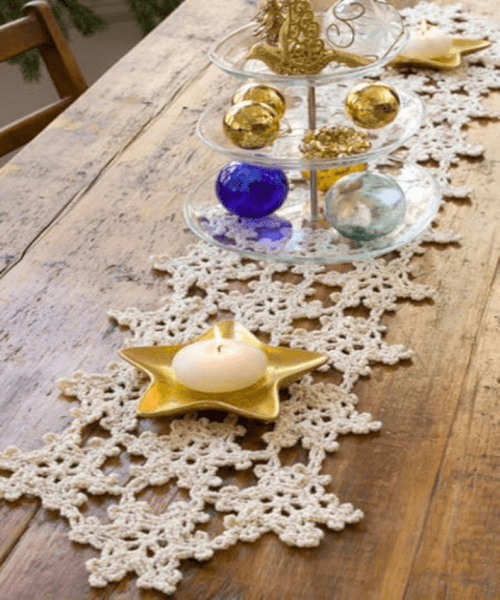 Snowflake Crochet Table Runner Pattern by Heart Land Mix