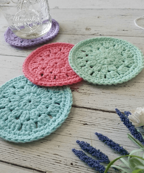 Spring Bloom Coaster Crochet Pattern by The Unraveled Mitten