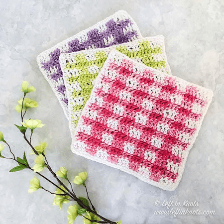 Spring Gingham Dishcloth Crochet Pattern by Left In Knots