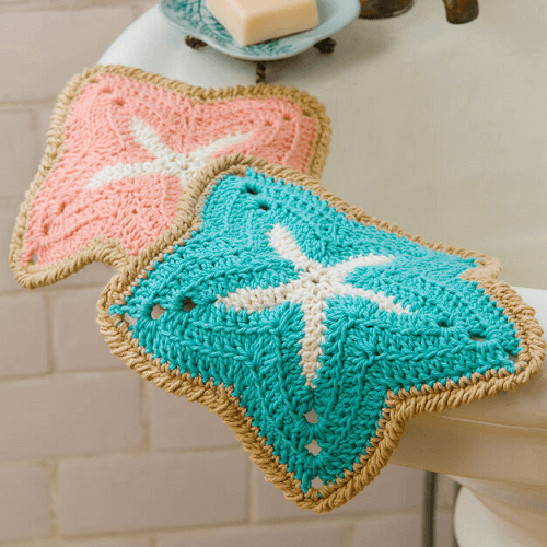 Starfish Dishcloths Crochet Pattern by Red Heart