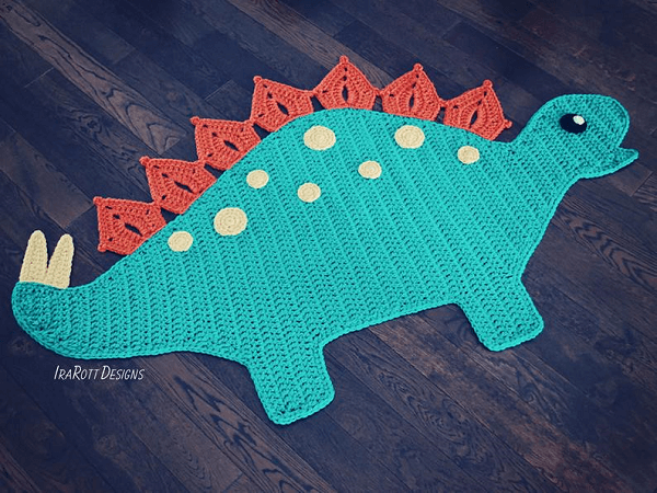 Spiky, The Stegosaurus Dinosaur Rug Crochet Pattern For Beginners by Irarott Patterns
