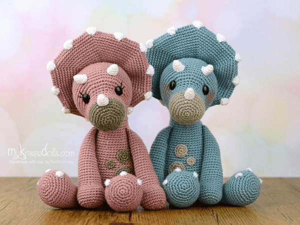 Tricia and Topsie, The Triceratops Dinosaur Crochet Pattern by My Krissie Dolls
