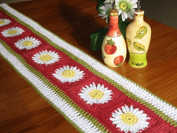 Tuscan Inspired Crochet Table Runner Pattern by Nuts About Knitting
