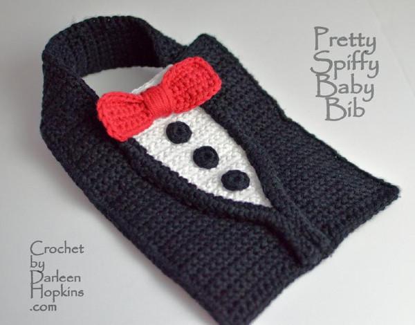 tuxedo crochet pattern baby bib baby shower gift