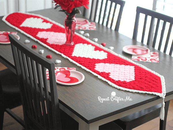 Valentine's Table Runner Crochet Pattern by Repeat Crafter Me