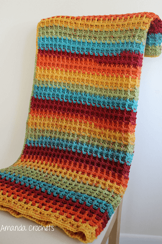 Crochet Waffle Stitch Baby Blanket Pattern by Amanda Crochets