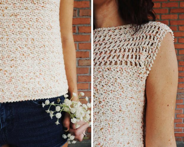 Crochet top with Reverse Single Crochet Border