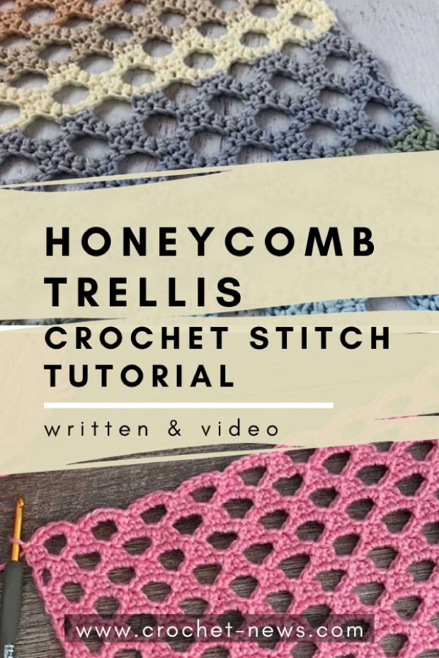 Honeycomb Trellis Crochet Stitch Tutorial with written pattern and video