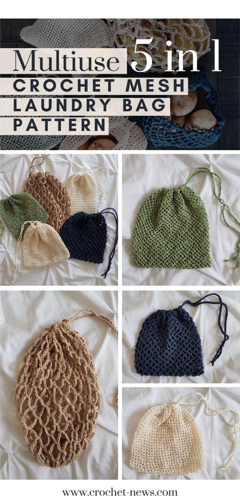 Multiuse 5 in 1 Crochet Mesh Bag Pattern