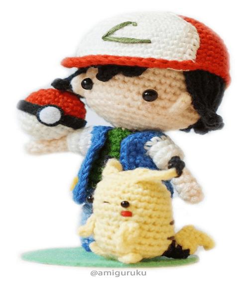 Ash Ketchum Crochet Pattern With Mini Pikachu & Pokeball by Amiguruku