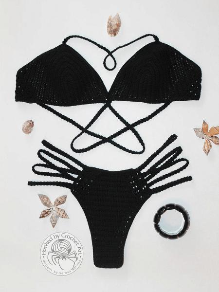 Crochet Black Bikini Pattern by Hooked By Crochet Art