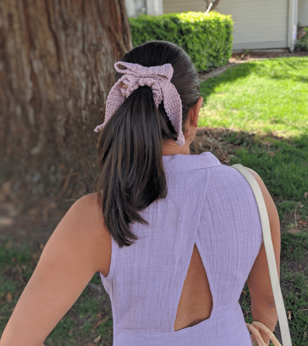 Crochet Bow Scrunchie Pattern by Darsi Stitches
