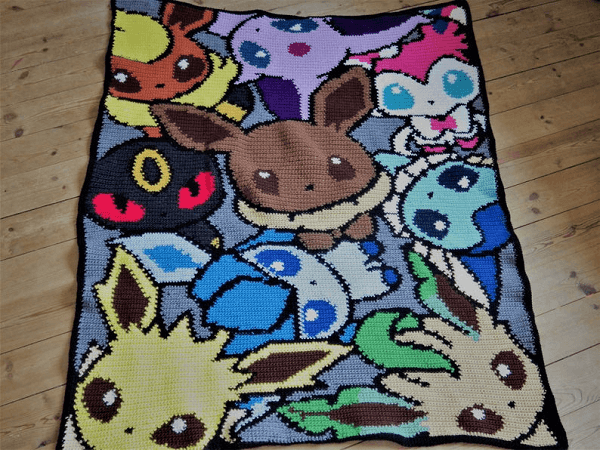 Crochet Eevee Blanket Pattern by Little Giraffe Crochet