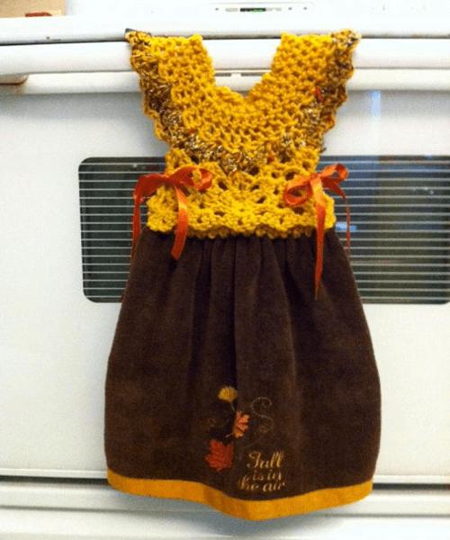 Crochet Handle Dress Towel Topper Pattern by Brenda Created