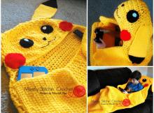 Crochet Pikachu Snuggle Blanket Pattern by Mostly Stitchin