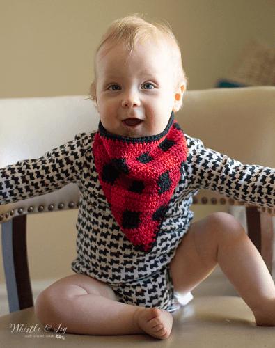 Crochet Plaid Bandana Bib Pattern by Whistle And Ivy