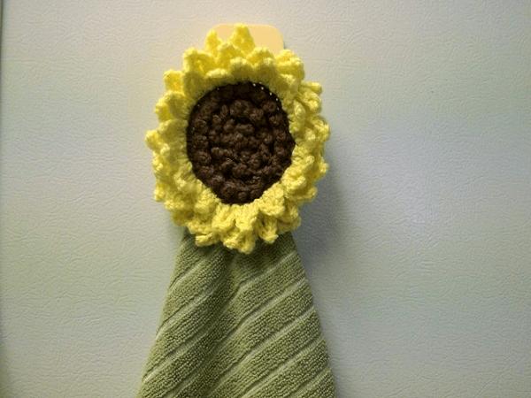 Crochet Sunflower Towel Topper Pattern by Cozy Nest Crochet