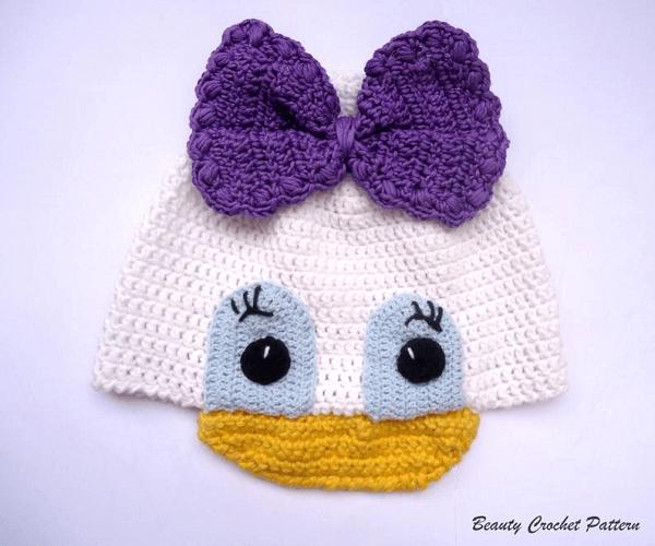Daisy Duck Crochet Hat Pattern by Beauty Crochet Pattern