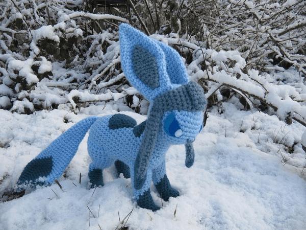 Glaceon Pokemon Crochet Pattern by Nerdy Knitter Designs