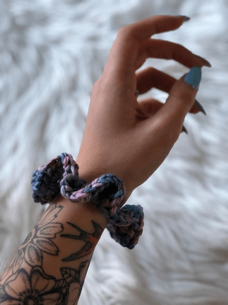 Crochet Lazy Day Scrunchie Pattern by That Canadian Stitch