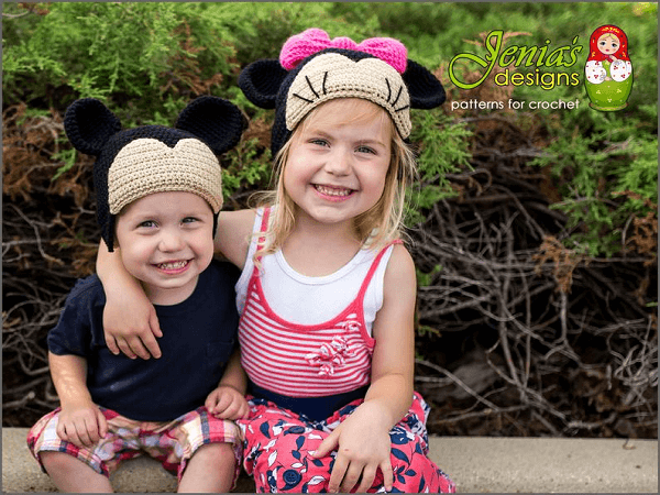 Adorable Mickey And Minnie Crochet Hat Pattern by Jenia's Designs