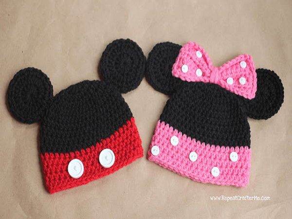 Mickey And Minnie Mouse Crochet Hat Pattern by Repeat Crafter Me