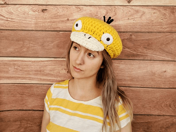 Psyduck Newsboy Hat Crochet Pattern by Hello Happy