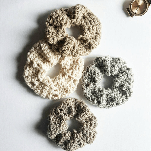 Topknot Scrunchie Crochet Pattern by White Owl Crochet Co.