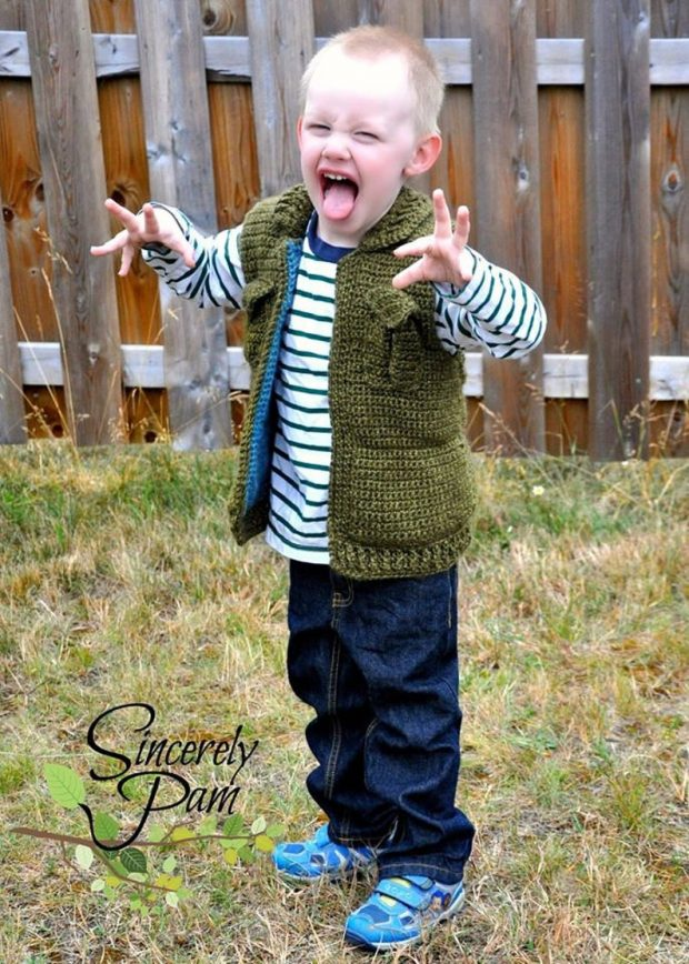 unisex with hood Toddler Boy Crochet Vest Pattern