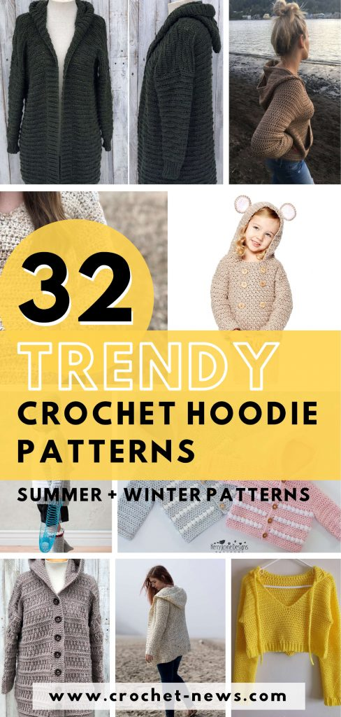 32 Trendy Crochet Hoodie Patterns for 2020 | Summer + Winter Patterns